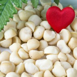 Heap of Macadamia nuts and a heart on the white background